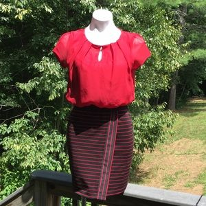 Speechless red and striped faux wrap skirt size S